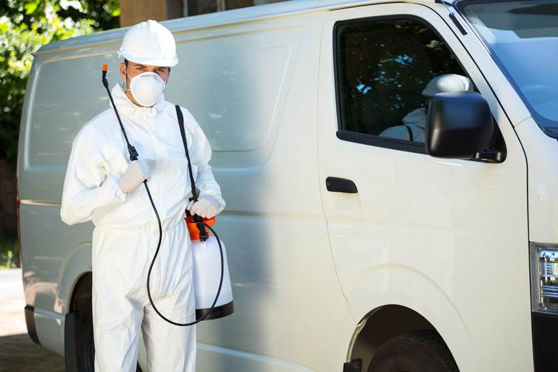 Portrait of pest control man standing next to a van